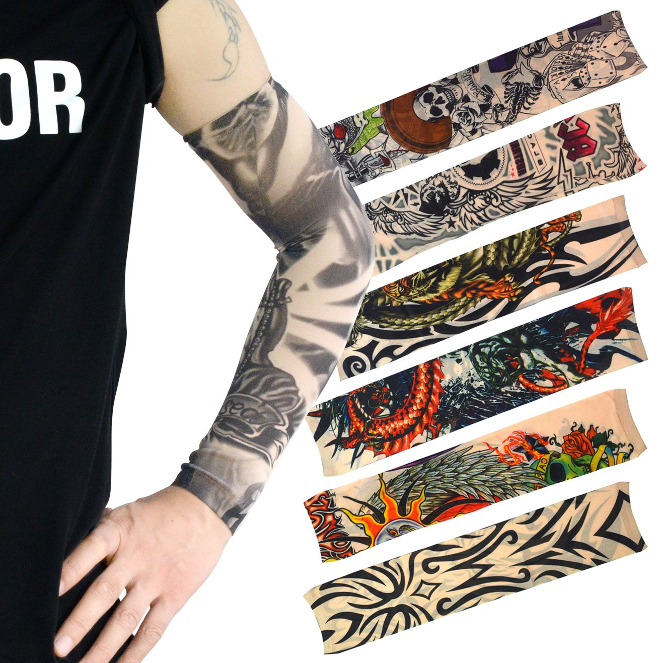 HOVEOX 20pcs Temporary Tattoo Arm Sleeves Arts Fake Slip on Arm Sunscreen Sleeves Body Art Stockings Protector -Designs Tribal, Tiger, Dragon, Skull, and Etc Unisex Stretchable Cosplay Accessories by HOVEOX (Image #2)