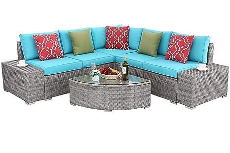 Do4U Juego de sofá de 6 piezas para exteriores, muebles ...