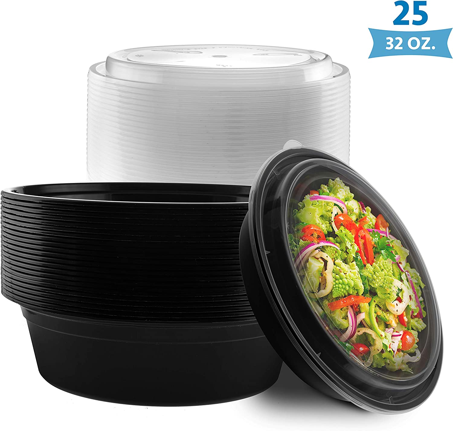 NYHI Round Meal Prep Food Containers | One Compartment BPA-Free Plastic Food Storage Portion Control Dishes With Lids | Reusable Bento Lunch Box | Microwave Dishwasher Freezer Safe | 7 Inch, 25 Pack
