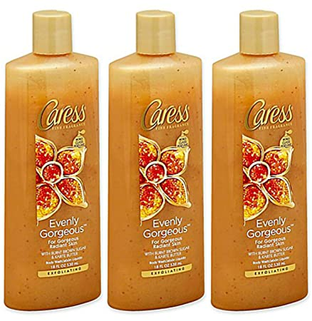 Caress Evenly Gorgeous With Burnt Brown Sugar Karite Butter Body Wash 12 oz Pack of 3