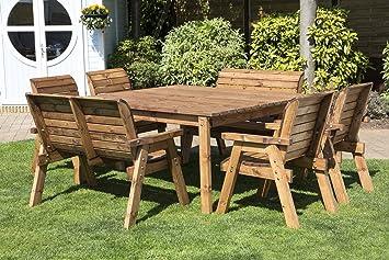 HGG 8 places table de jardin en bois - Banc et chaise de ...