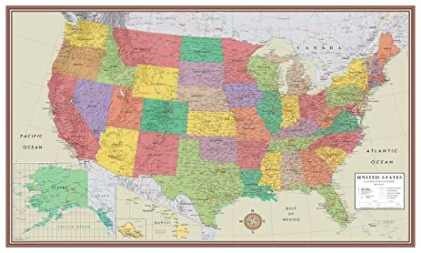 Amazoncom 24x36 United States USA Contemporary Elite Wall Map