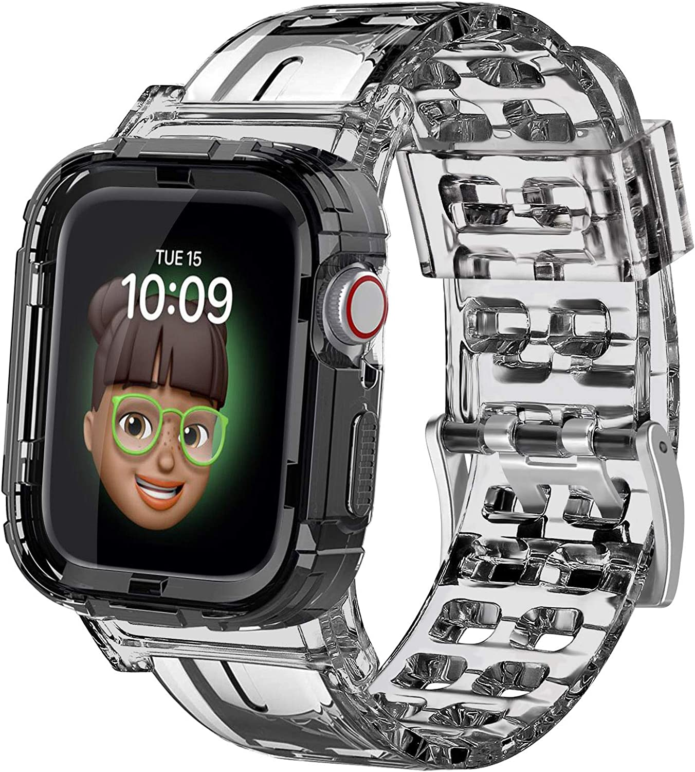 Amzpas Band with Bumper Case Compatible with Apple Watch Band 38mm 40mm 44mm 42mm, Soft Crystal Shockproof Impact Resistant Strap Compatible for Apple Watch SE & 6 5 4 3 2