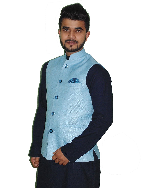 B&S Nehru Jacket party Wear For Men\'s (Sky Blue): Amazon.in ...