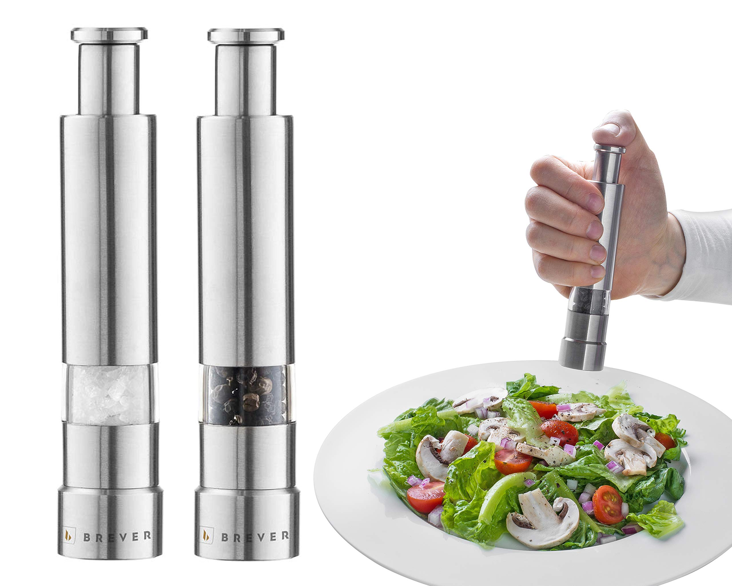 Brever One Handed Salt and Pepper Grinder Set | Pack of 2 Mills | Chic Modern Design | For Himalayan Salt, Peppercorn Medleys, Minced Garlic, and Other Whole Spices | Stainless Steel and Acrylic