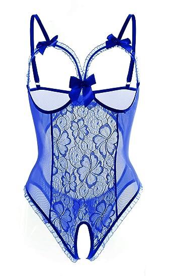 542d0de48611f3 Womens Lingerie Lace Teddy Bodysuit Set Open Cup Crotchless with Mini Bow  S-3X (