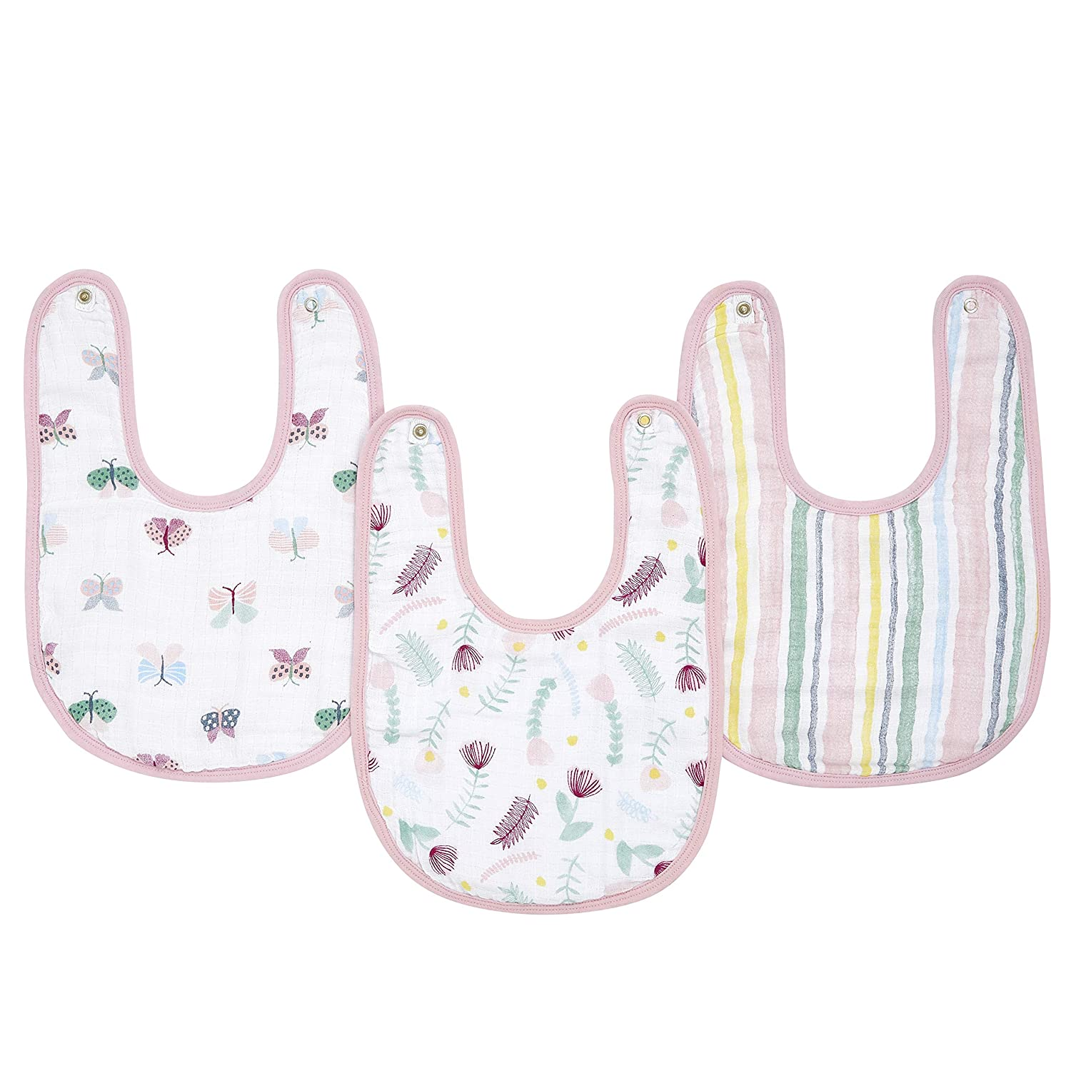 Adjustable with Snaps anais Snap Baby Bib Newborns and Toddlers Super Soft /& Absorbent for Infants aden 3 Pack Floral 3 Layer Burp Cloth 100/% Cotton Muslin