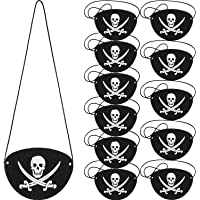 Tatuo 12 Pack Pirate Eye Patches Black Felt One Eye Skull Captain Eye Patches for Halloween Christmas Pirate Theme Party