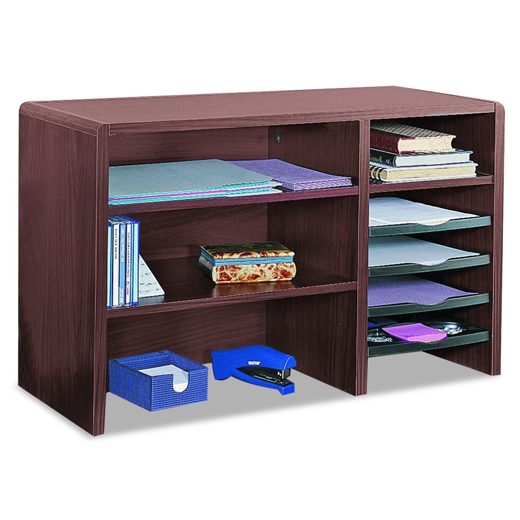 Safco 3692MH Desktop Organizer, Nine Sections, 29 x 12 x 18, Mahogany