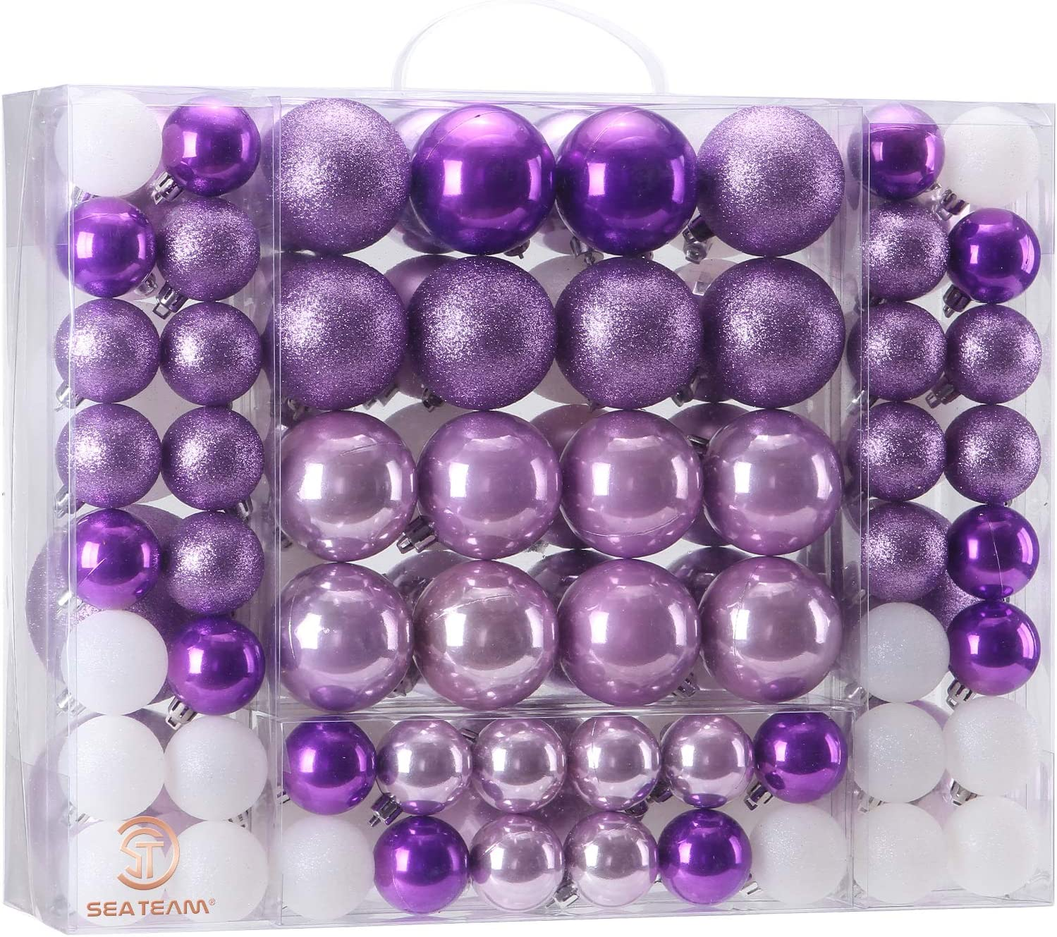 Sea Team 87 Pieces of Assorted Christmas Ball Ornaments Shatterproof Seasonal Decorative Hanging Baubles Set with Reusable Hand-held Gift Package for Holiday Xmas Tree Decorations, Purple