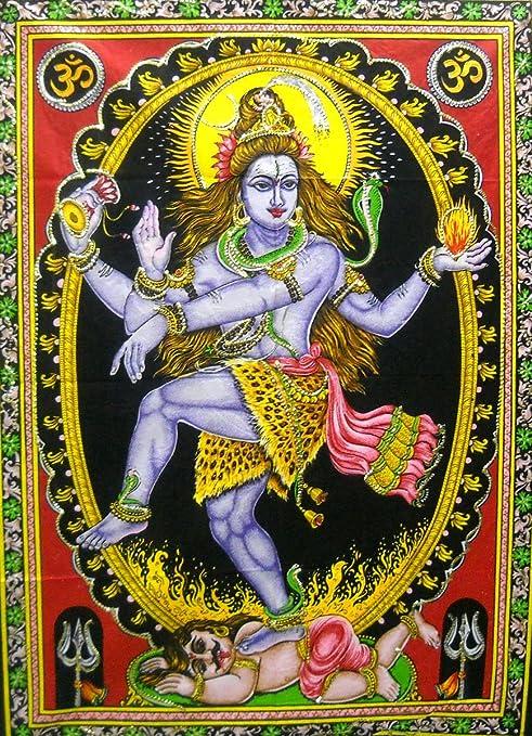 Amazon Com Dancing Shiva As Nataraja Colorful Batik Cotton Sequins Wall Tapestry 40 X 30 Everything Else