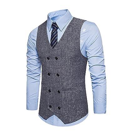 YCHENG Hombre Sin Mangas Clásico Chaleco Vestir de Boda Casual Moda  Waistcoat  Amazon.es  Ropa y accesorios 8699d90284ed