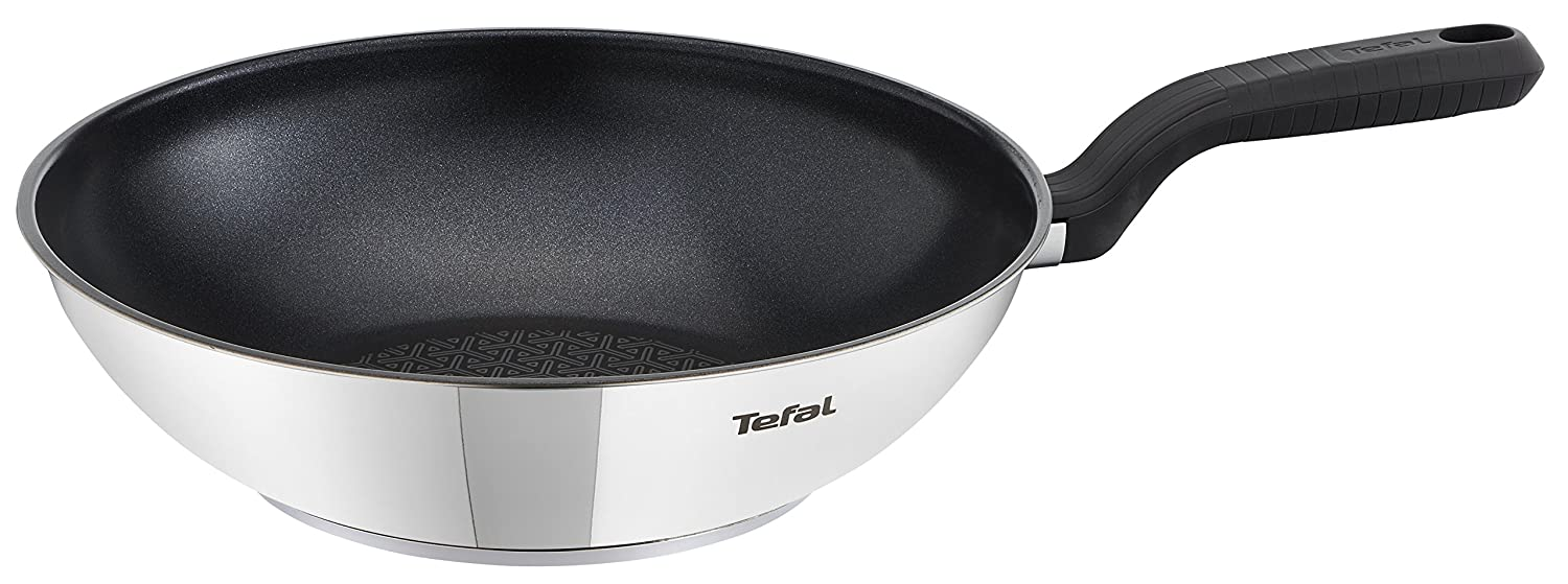Tefal Comfort Max Stainless Steel Non-stick Wok, 28 cm - Silver C9771914