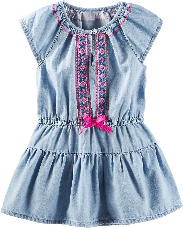 6 Months Oshkosh Bgosh Baby Girls 2-piece Embroidered Chambray Dress Blue