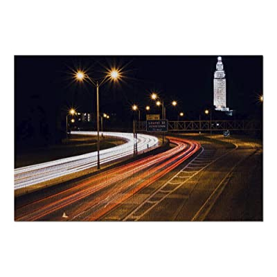 Baton Rouge, Louisiana - Traffic Light Trails on The Interstate 9016644 (Premium 1000 Piece Jigsaw Puzzle for Adults, 20x30, Made in USA!): Toys & Games
