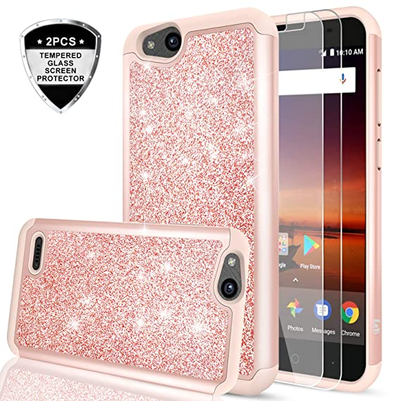 cheap for discount f3d06 fc105 ZTE Tempo X/Blade Vantage/Avid 4 / Fanfare 3 Case with Tempered Glass  Screen Protector [2 Pack],LeYi Glitter Girls Women Heavy Duty Protective  Phone ...