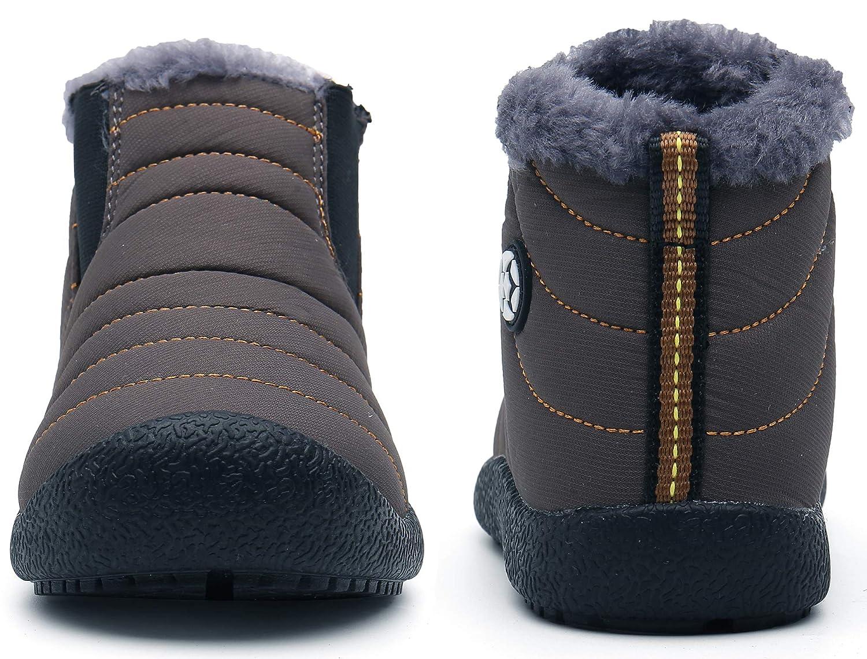 Kids Fur Lined Ankle Snow Boots Boys Girls Warm Waterproof Outdoor Shoes Sneaker