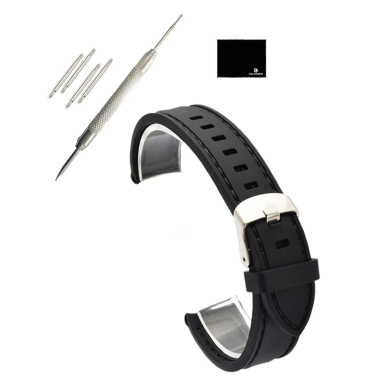 TON CHARME 防水 シリコン 腕時計ベルト 18/20/24mm ブラックにレッド/オレンジ/ブルー/ホワイト/パープル/イエローのスティッチ 24mm Black Stitching  Black Stitching 24mm B0748DWFMH