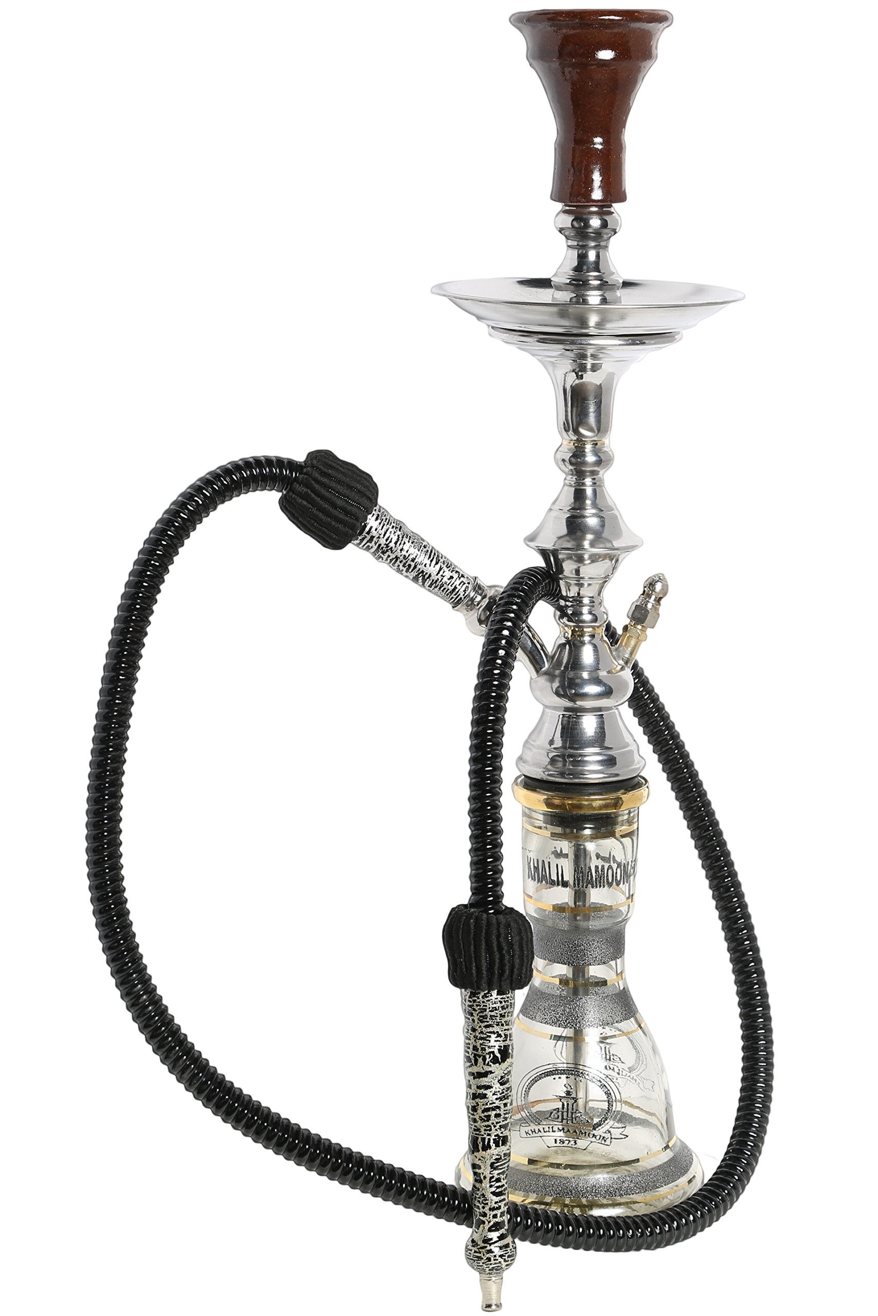 Authentic Mini 22'' Handmade Traditional Style Egyptian Khalil Mamoon Karmana Narguile Hookah (Silver)