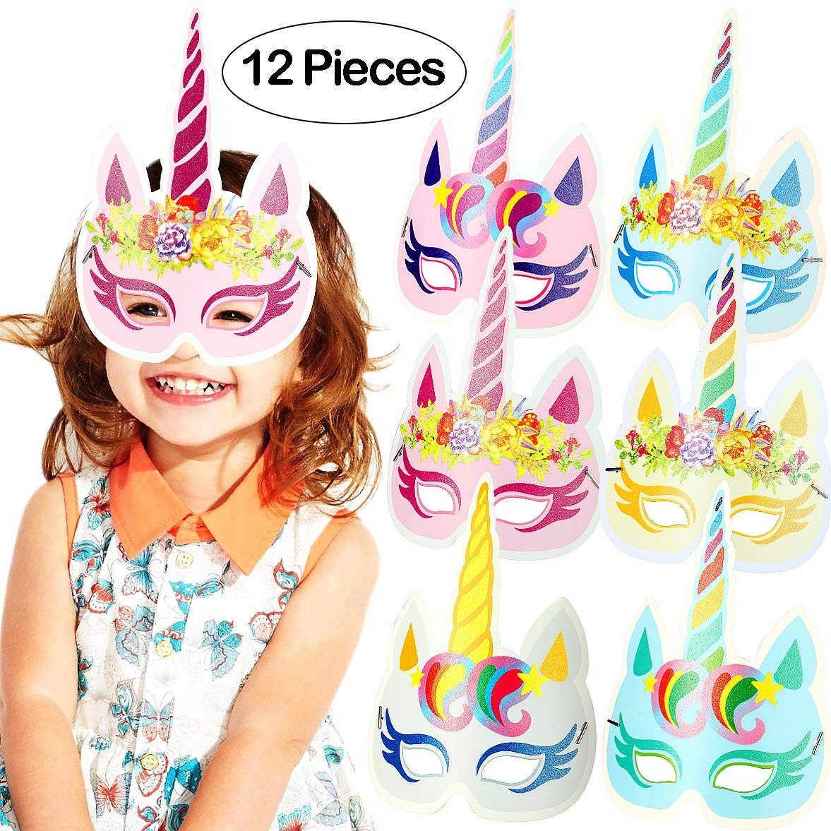 Onshine Rainbow Unicorn Mask for Kid Birthday Party 12pcs Unicorn Party Supplies