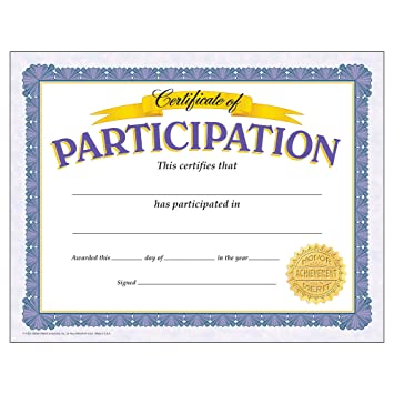 certificate of participation  Amazon.com: Trend Enterprises Certificate of Participation, 30 per ...