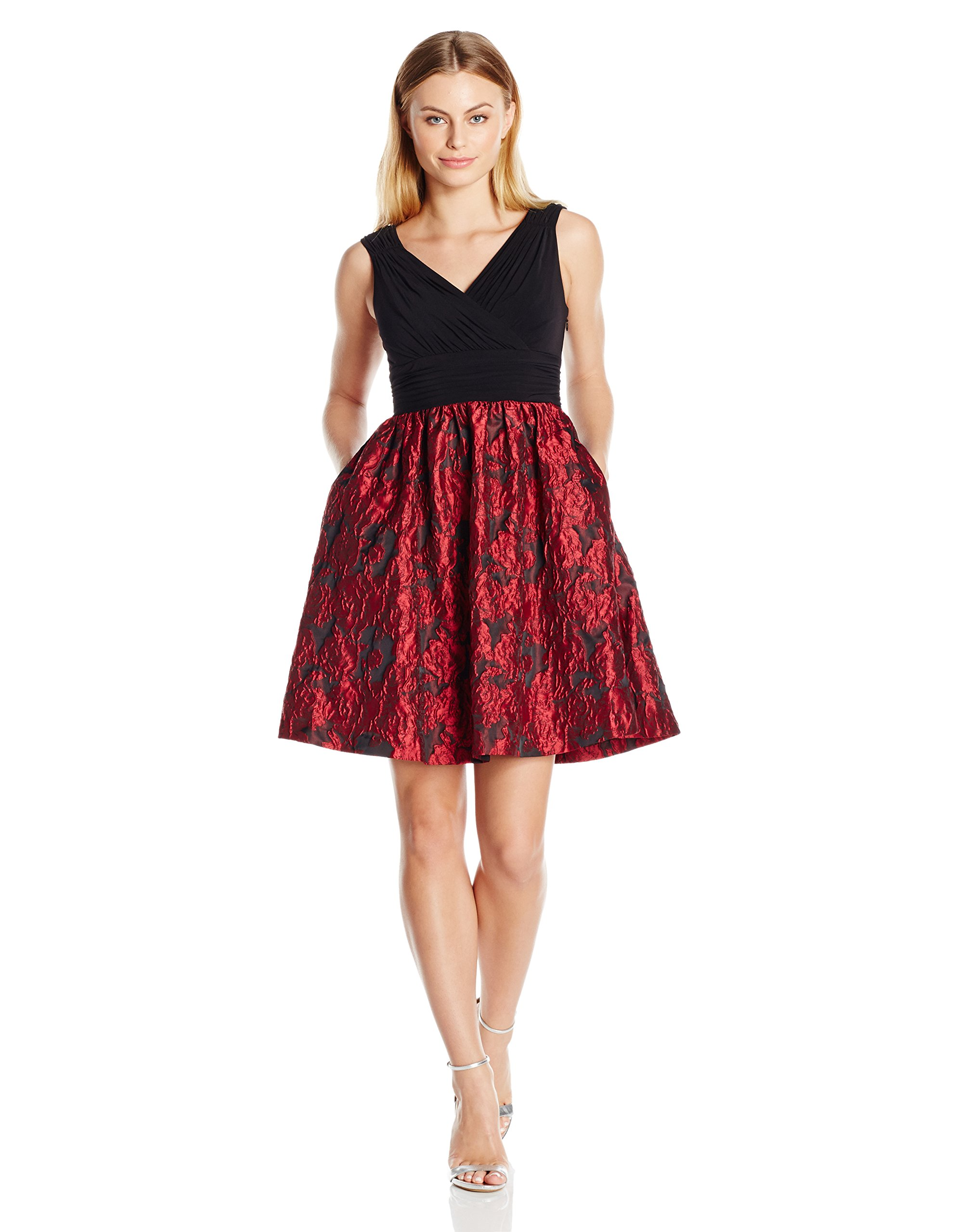 Adrianna Papell Women's Petite Portrait Bodice Fit and Flare, Red/Black, 12P