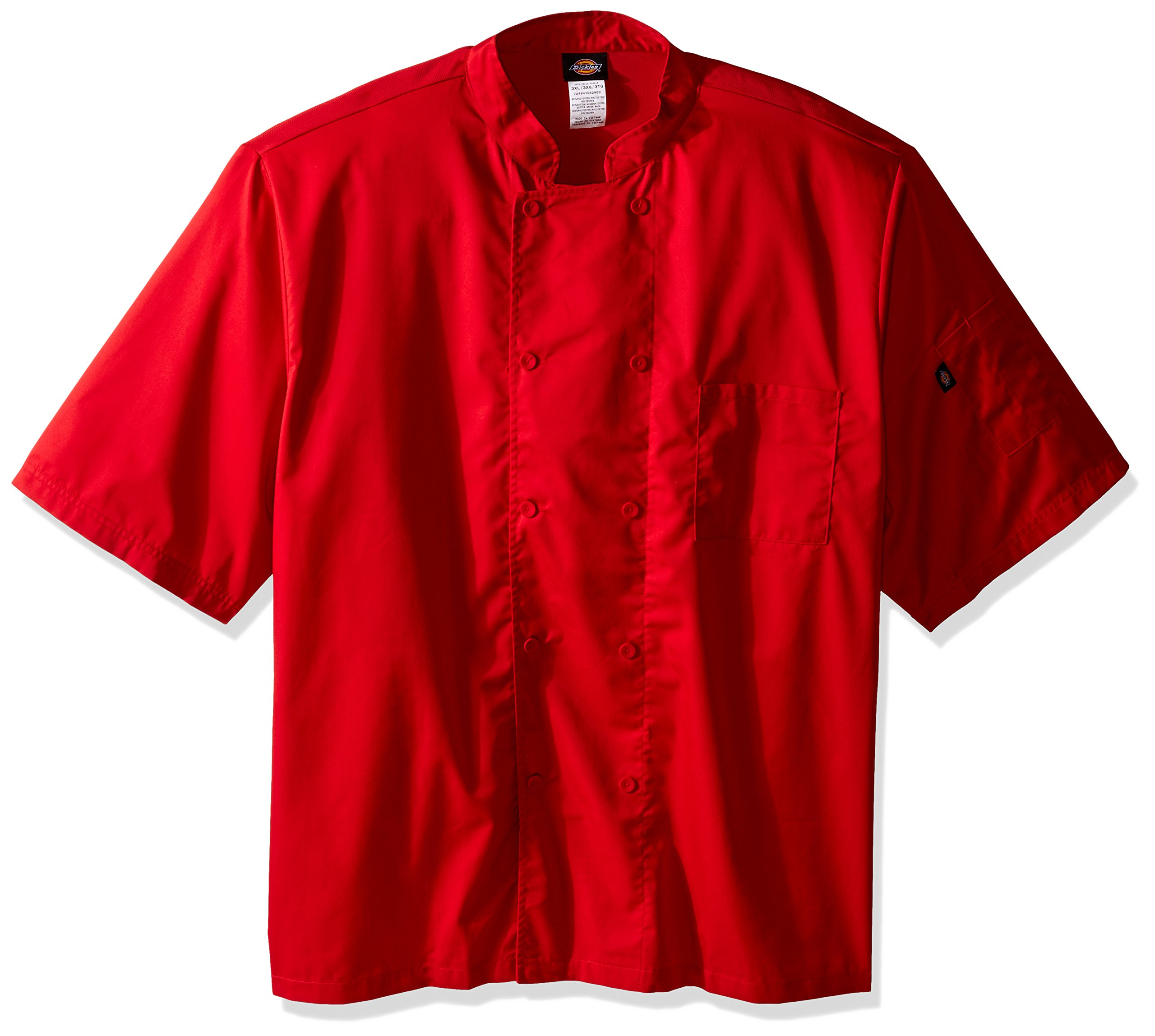 Dickies Chef Cool Breeze Short-Sleeve Coat, Red, XX-Large