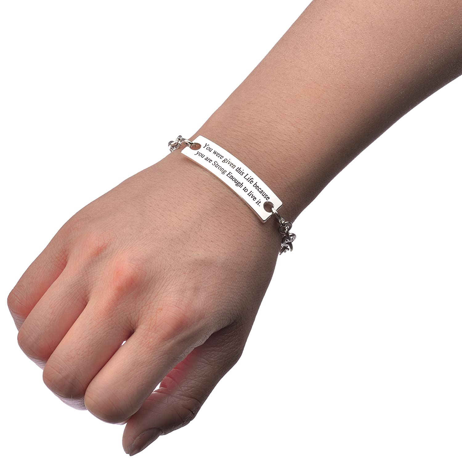 You were given this Life because You are Strong Enough to live it Sweet Inspirational Quote on Metal Elegant Bracelet Silver