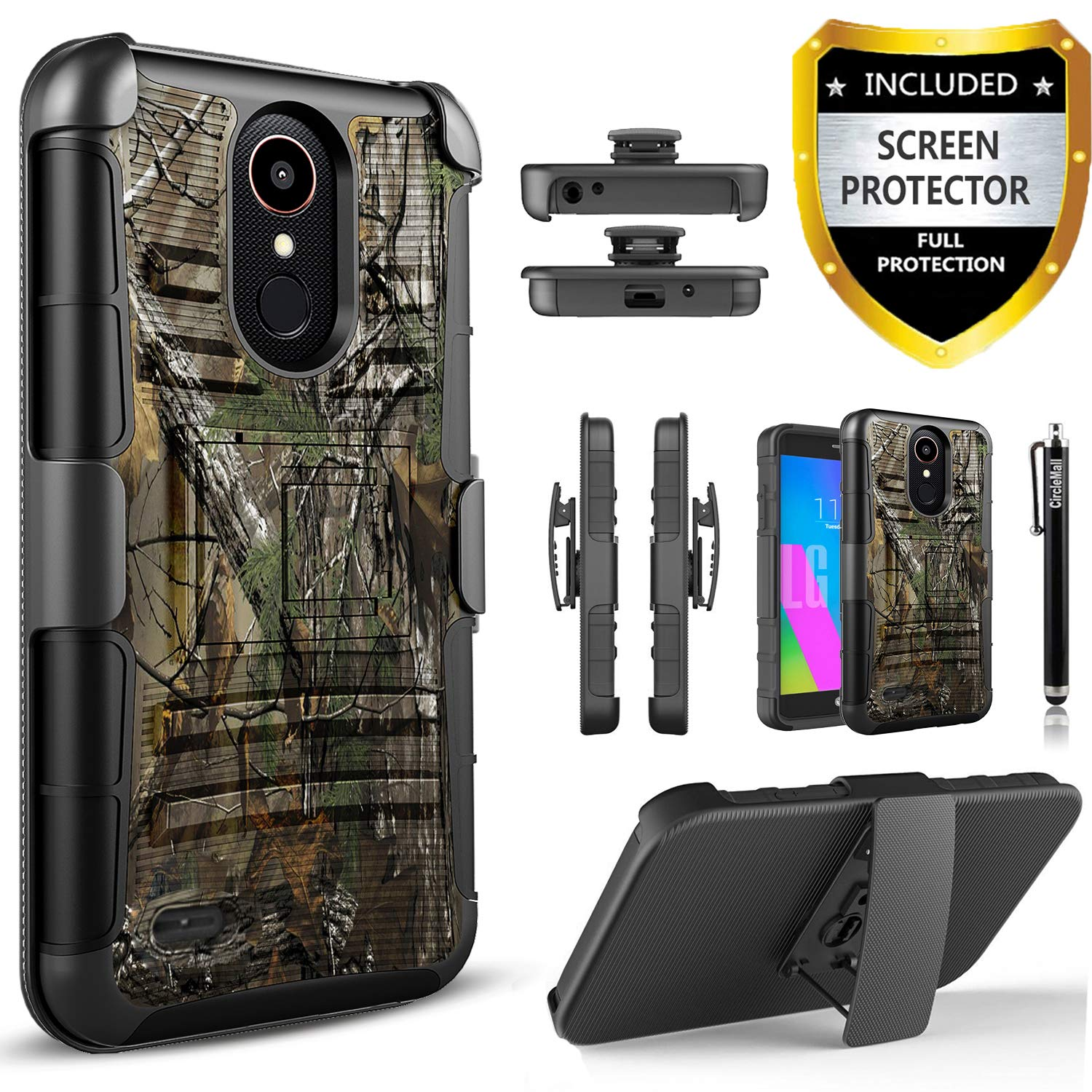 LG K30 Phone Case/LG Premier PRO LTE/LG K30 Plus/LG Phoenix Plus/LG Harmony 2/LG K10 2018, With [HD Screen Protector] Circlemalls Phone Holster Built-In Kickstand Heavy Duty Cover And Stylus-Camo