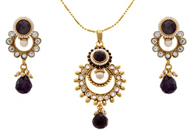 dd92418862e Buy JFL - Traditional Ethnic One Gram Gold Plated Polki Pearl Black ...