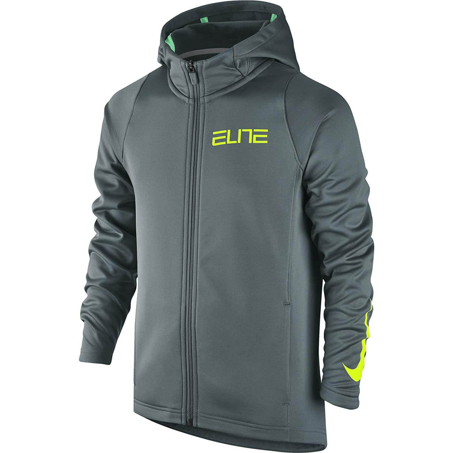6a1217dc1c4d Amazon.com  Nike Boy s Therma Elite Basketball Hoodie Hasta Green Glow Volt  Size Small  Clothing