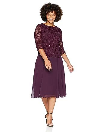 Alex Evenings Womens Plus Size T Length Lace Mock Dress At Amazon