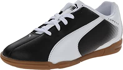 PUMA Adreno Indoor JR Soccer Shoe (Little Kid/Big Kid) , Black/White, 2 M US Little Kid