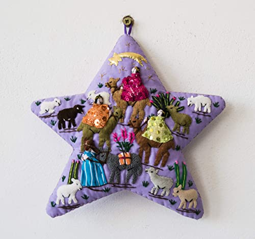 Amazon Com Purple Quilted Christmas Wall Hanging 7 8 X7 8 From Peru Star Arpillera Patchwork Christmas Decor Applique Fabric Holiday Wall Decor Nativity Scene Handmade