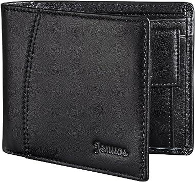 Mens Leather Wallet RFID Blocking Credit Card Holder Coin Pocket Purse 12x9.5x2.5CM