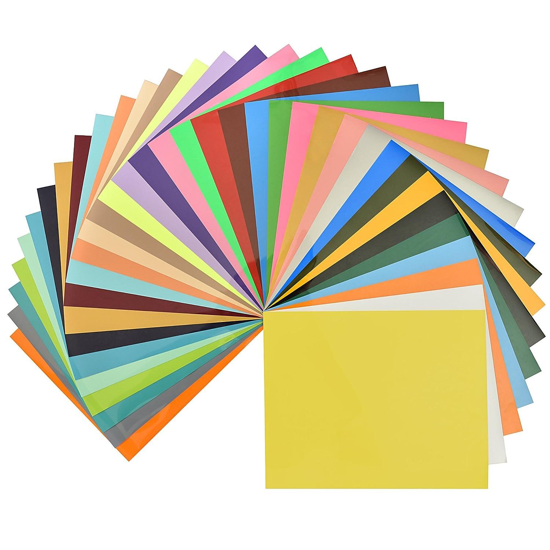 Vinyl sheets for crafts - 35 Colors Fame Crafts Heat Transfer Vinyl Assorted Color Transfer Sheets Iron On Htv Vinyl For