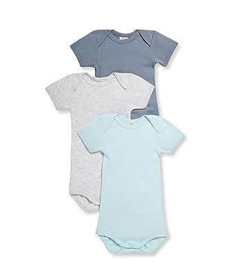 Petit Bateau Baby Boys Lot DE 3 Bodies bébé garçon Manches Courtes Plain  Round Collar Short 3ad4006218b