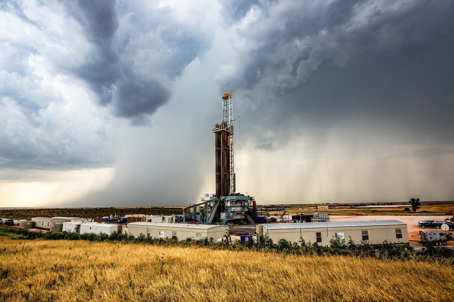 Oil Rig Photography Art Print - Picture of Drilling Rig Derrick and Storm in Western Oklahoma Oilfield Decor 5x7 to 30x45