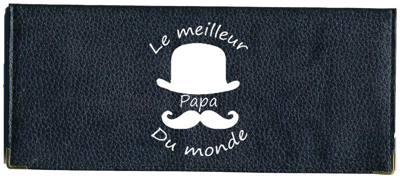 Porte chéquier long portefeuille noir porte carte motif Meilleur papa fete des peres chequierlong-meilleurpapa
