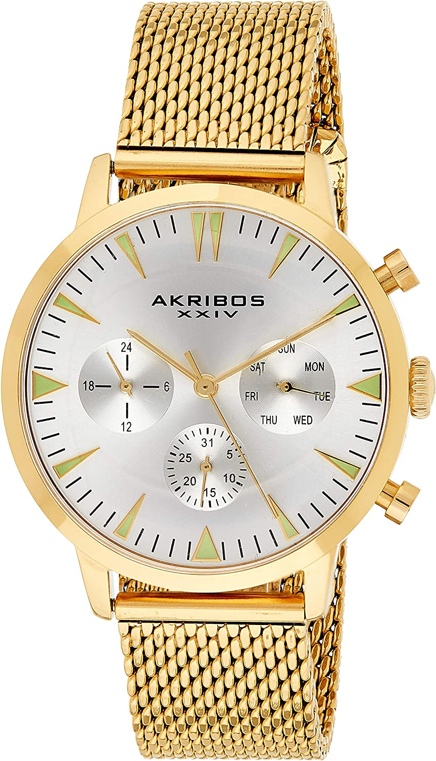 Akribos Multifunction Stainless Steel Mesh Bracelet Wristwatch - Date, Day and 24 Hour Chronograph Sub Dials Designer Men's Watch - AK1027