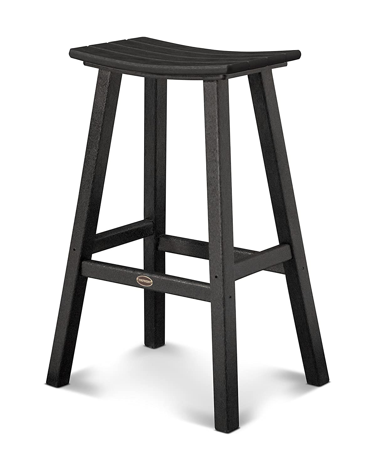 POLYWOOD 2002-BL Traditional 30 Saddle Bar Stool, Black