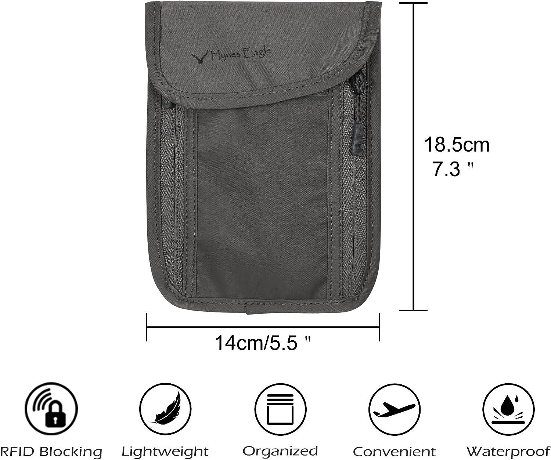Argent Blanc Smartphone Hynes Eagle Pochettes Tour de Cou de Voyage RFID Anti-vol et Ceinture pour Passeport