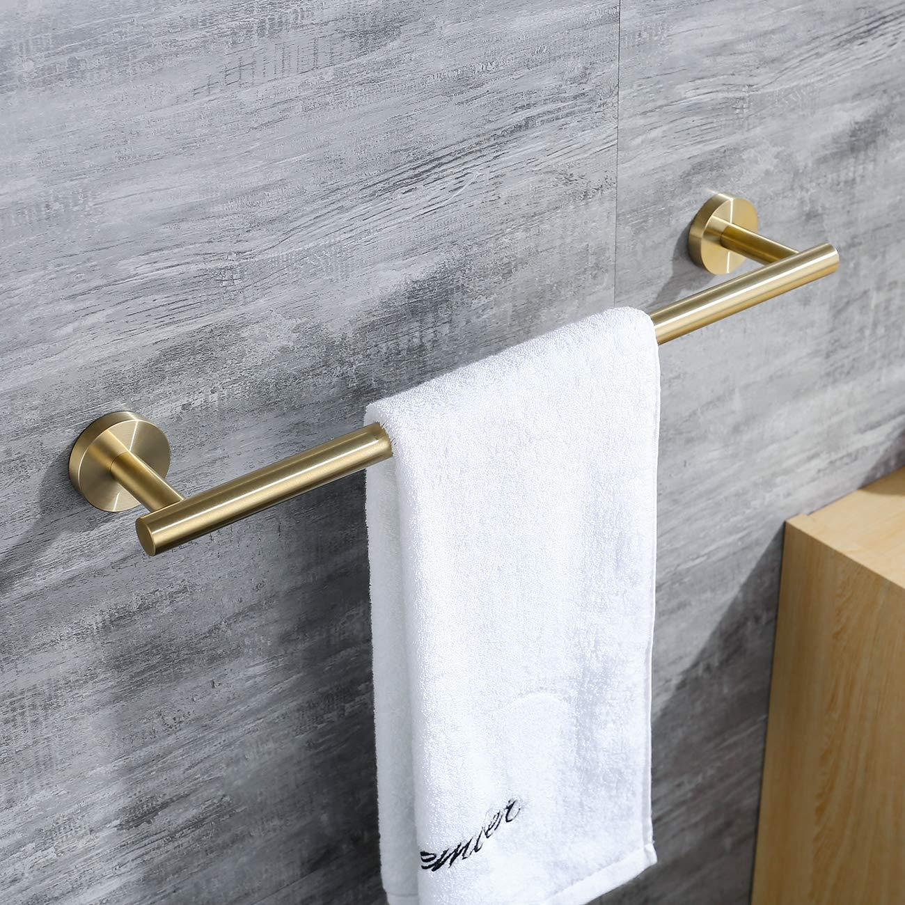 Hoooh Bath Towel Bar 18-Inch Stainless Steel Towel Rack Bathroom Towel Hanger Wall Mount Brushed Gold, A100L45-BG