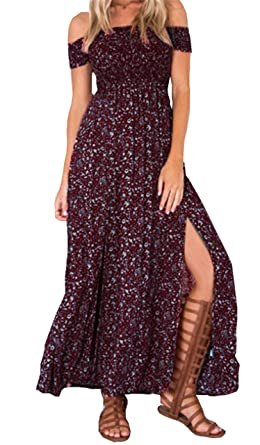8c49cb3afd9 Sexy strapless beach summer dress sundresses Vintage tunika maxi dress Boho  floral women split long dress - Red -  Amazon.co.uk  Clothing
