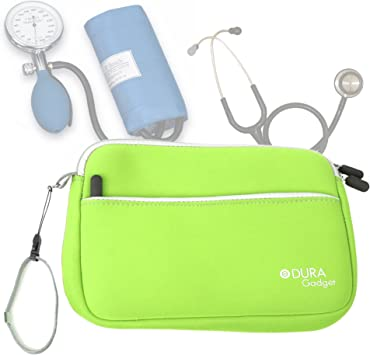 DURAGADGET Estuche De Neopreno Verde Lima para Guardar Sus Accesorios Médicos (Estetoscopio/Tensiómetro) | con Bolsillo Exterior para Guardar Más Objetos: Amazon.es: Electrónica