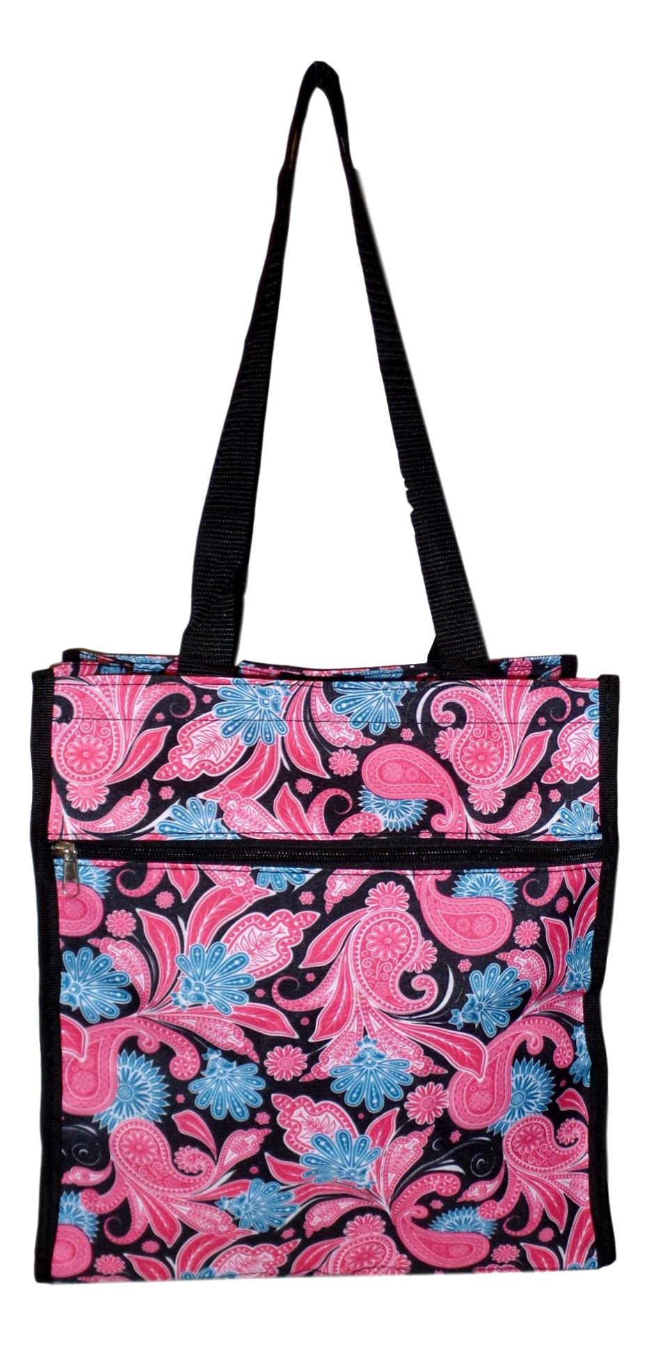 Medium Fashion Print Travel Tote Bag with Coin Purse - Custom Available (Black Paisley)