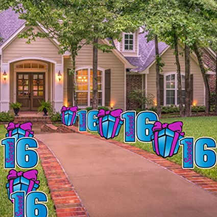 Victorystore Sweet 16 Pathway Markers Sweet Sixteen Yard Decorations With 20 Stakes Blue Purple