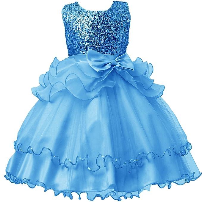 Lisianthus002 Niñas Lazo lentejuelas de volantes de tul vestido de fiesta Azul azul 34