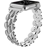 Moolia Compatible with Apple Watch Band 42mm 44mm Metal Fashion Women Replacement Strap Bracelet for iWatch Series 6 5 4 3 2