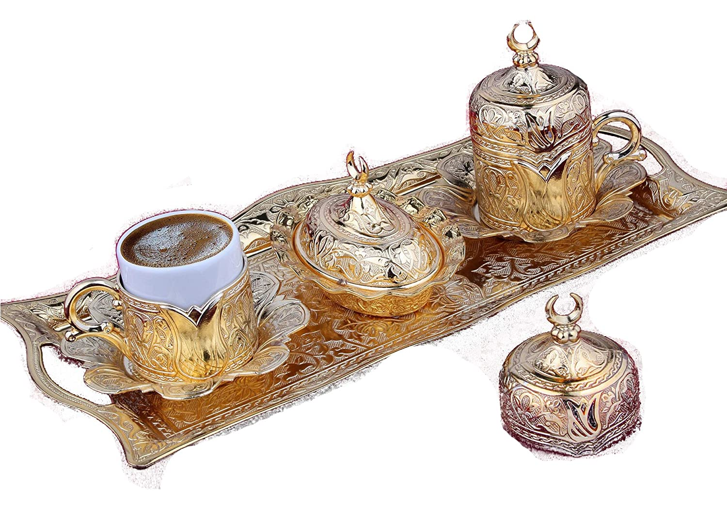 Gold Case Aged Gold plated Turkish, Arabic, Greek and Espresso Coffee Set for 2 - Made in Turkey - 11 pieced set (Aged gold) Lalezar 2li-ant-05
